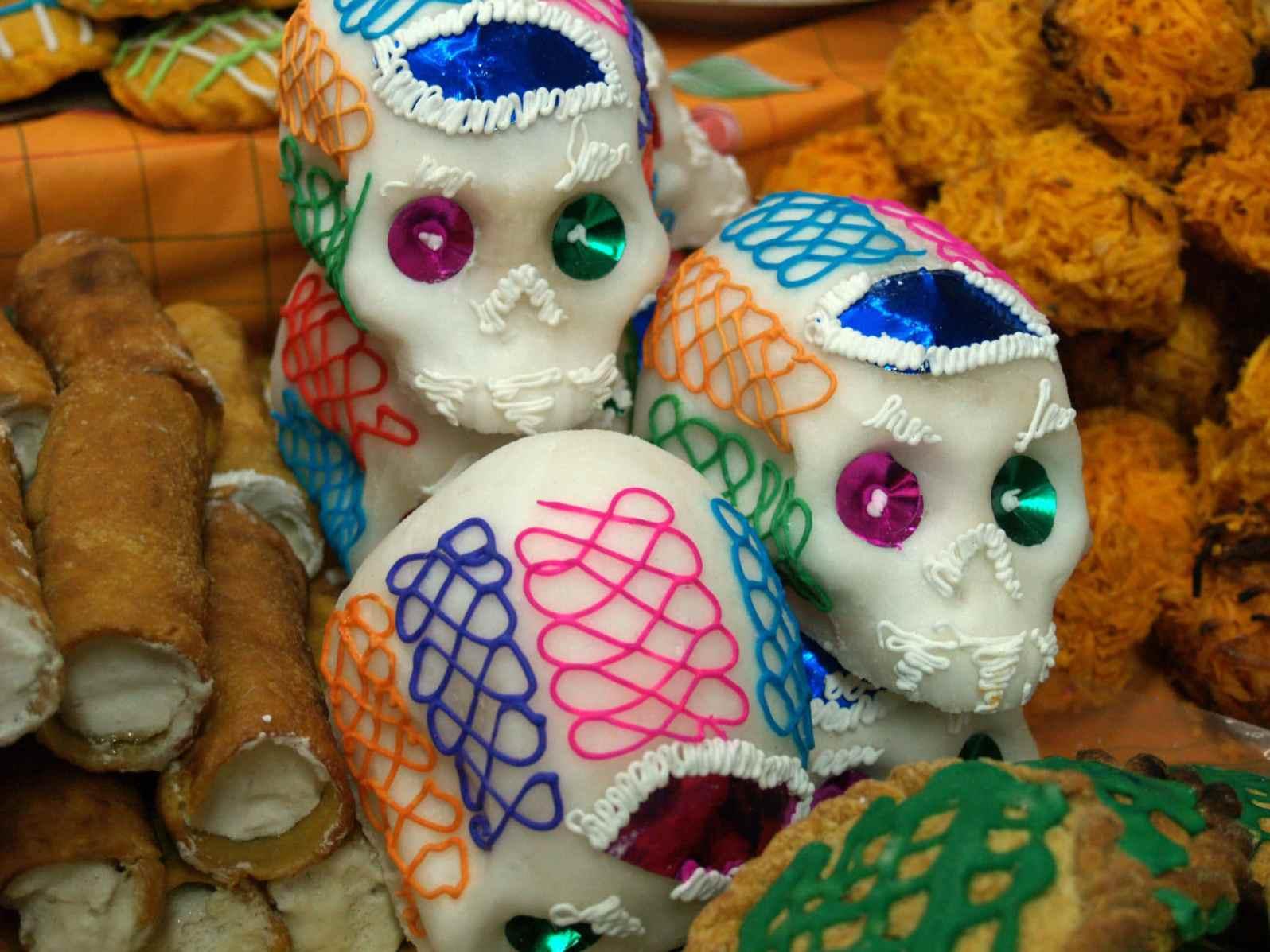 Sugar skull for dia de los muertos, chiapas