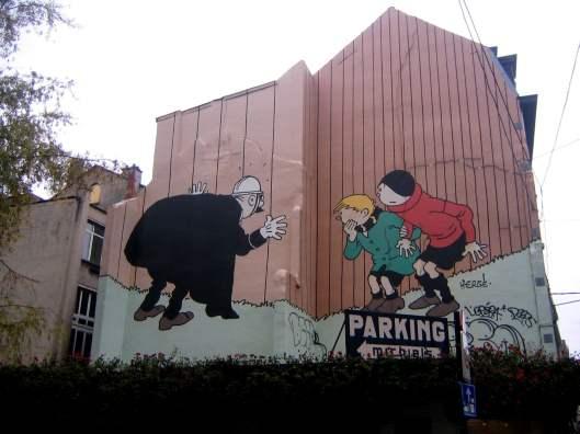 Comic strip mural painting Brussels Belgium