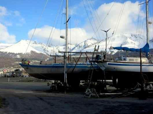 Port Ushuaia Snowy Moutains Boats Tierra del Fuego Argentina