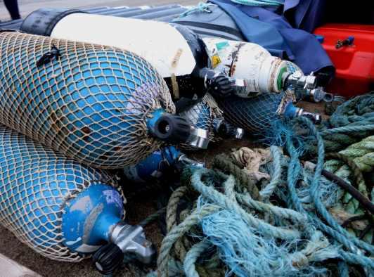 Scuba diving cyilinders Stromness Orkney Scotland