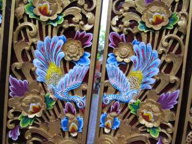 Painted carved door Ubud Bali Indonesia