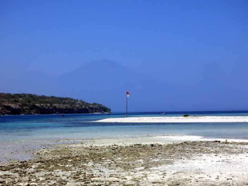 View from Menjangan Island, Bali, on East Java volcanoes, Indonesia