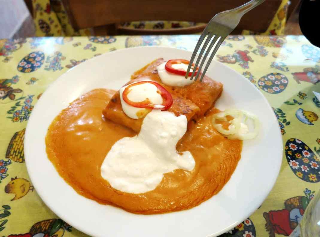 Palacsinta savory crepes Nagyi Etkezde restaurant Budapest Hungary