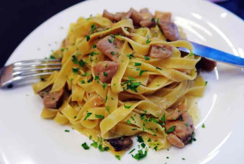 Fettucine pasta with Mushroom, Restaurant Rome near Coliseum