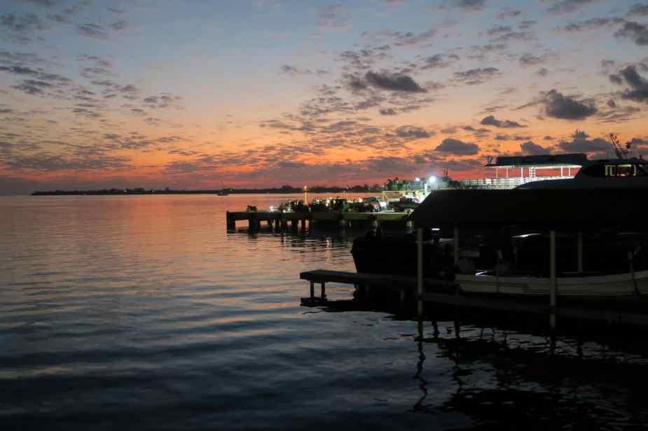 sunset at Mango Tango Restaurant Utila Honduras