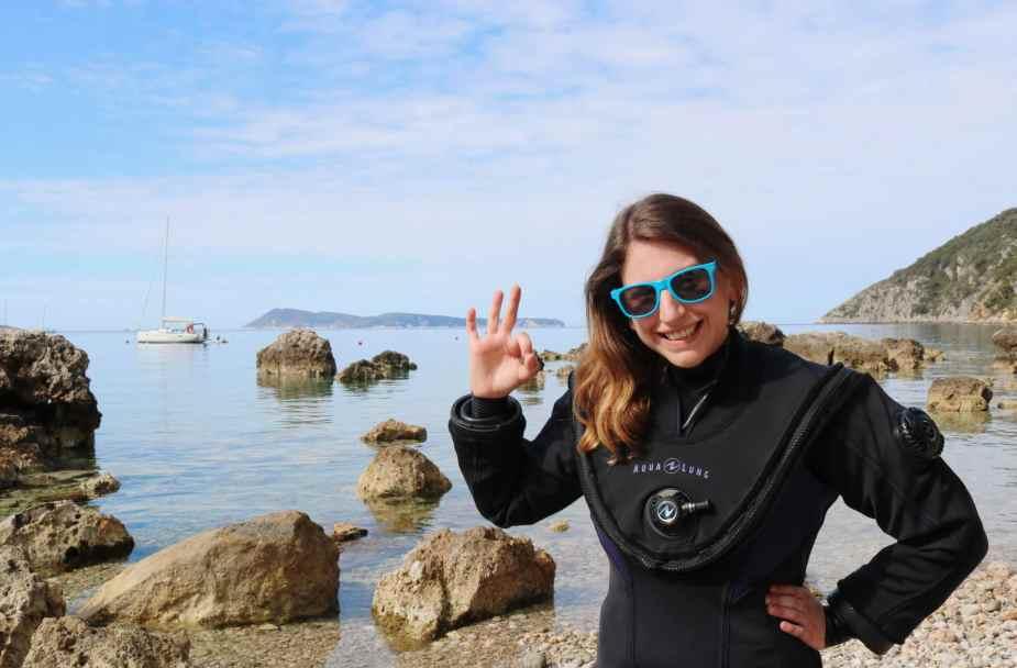 Florine World Adventure divers Fusion drysuit diver in Croatia - local diving