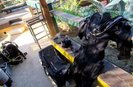 scuba diving bag - fast boat from Sanur Beach to Nusa Lembongan Bali