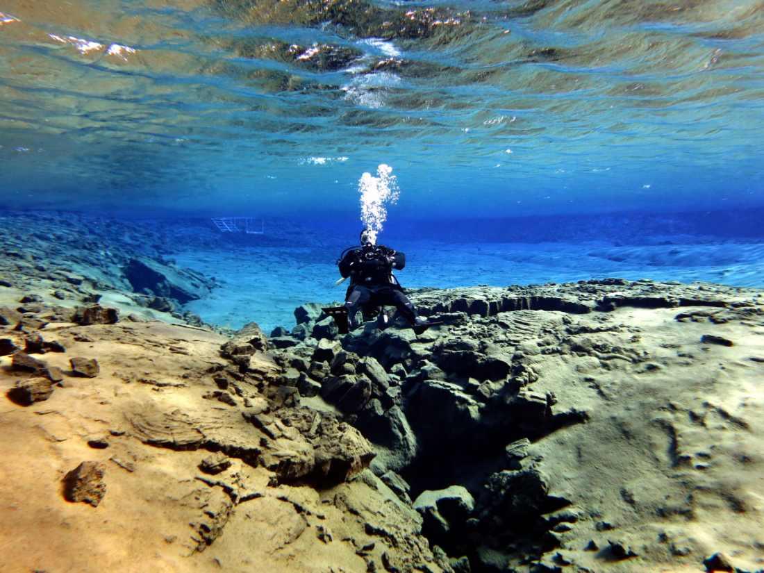 Scuba diving Silfra Lagoon Iceland