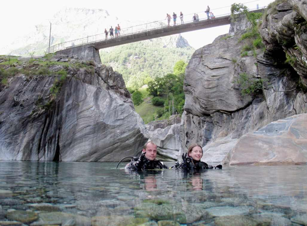 Pozzo delle Posse Scuba diving in Verzasca River Switzerland