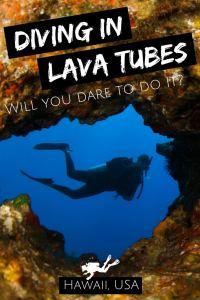 Diving in lava tubes Big Island Hawaii