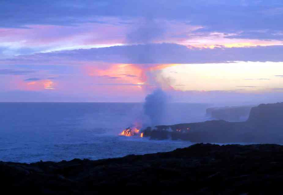 Lava flowing into the ocean Kilauea Volcano East Rift zone Hawaii - Fun things to do in Hawaii
