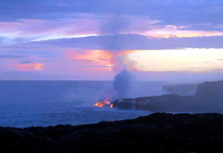 Lava flowing into the ocean Kilauea Volcano East Rift zone Hawaii