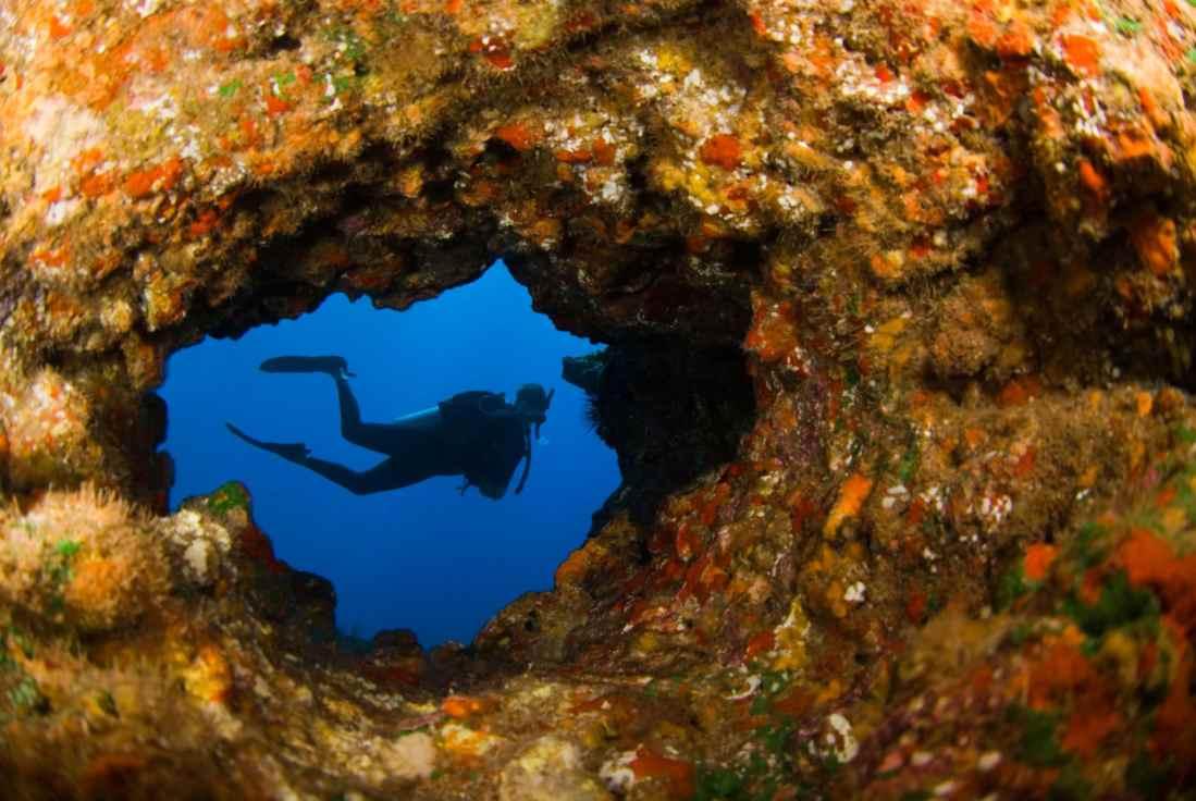 Scuba diving lava tube Hawaii