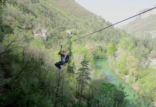 Zip-line Dourbie Gorges Aveyron France