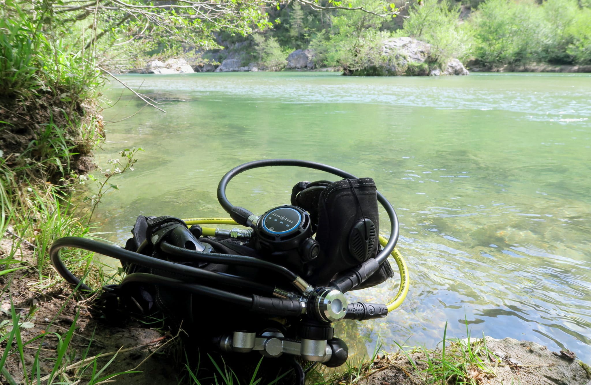 my scuba gear for river diving in Gorges du Tarn France