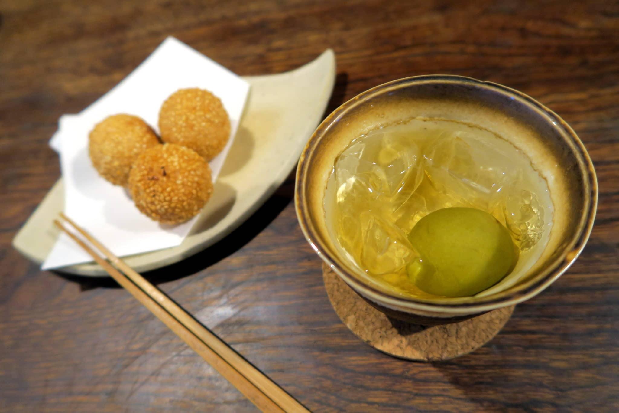 Sesame dango umeshu plum wine Nombiriya Cafe Tokyo Japan