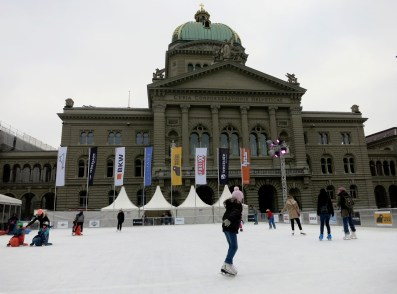 Federal palace Bern with ice rink