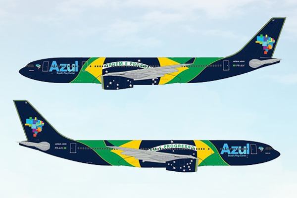 Azul unveils the special flag livery for its new Airbus