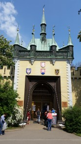 The cute little castle that houses the mirror maze.