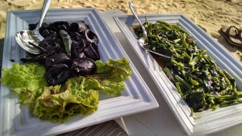 Adobo squid and stir fried kangkong served right at your lounge chair.