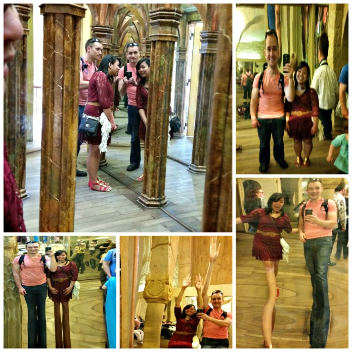 Being silly at the mirror maze.