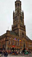 The imposing Belfry of Bruges, in the Markt square.