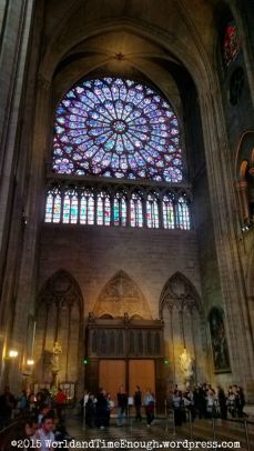 A stained glass rose window in Notre Dame