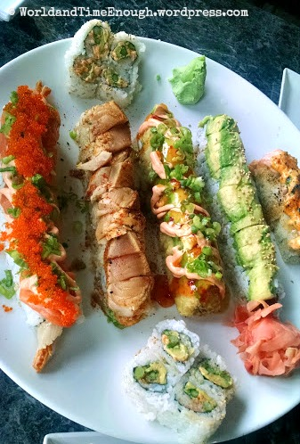 Various long rolls from Trapper's Sushi menu, including the Barackade (second from left), Volcano (middle), and half Trump (rightmost).