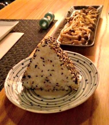 Onigiri and mushrooms, yum!