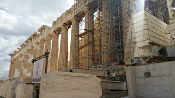 Restoration of the Parthenon continues today.