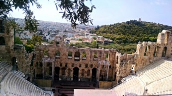 An amazing view of Athens from above the Odeon.