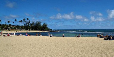 Poipu Beach is popular among families.