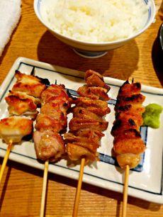 Chicken yakitori at a Shinjuku Station restaurant.