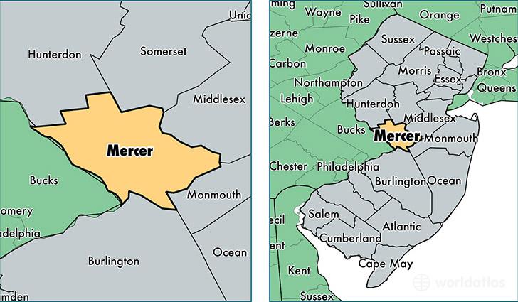 Mercer County, New Jersey  Map Of Mercer County, Nj