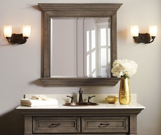 elegant rustic bathroom mirrors Choosing bathroom mirror with shelf: shape, materials and color for different interiors and