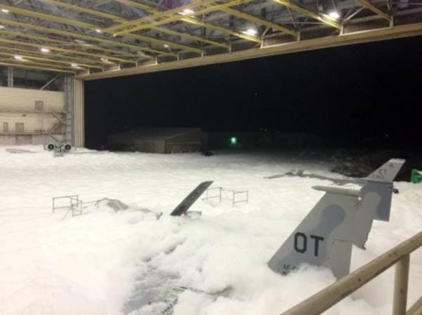 It took two minutes for the carcinogenic aqueous film forming foam (AFFF) to cover the 90,000 square foot hanger with 3 feet of foam at Eglin AF Base, Florida. - via youmustvotenato / Reddit