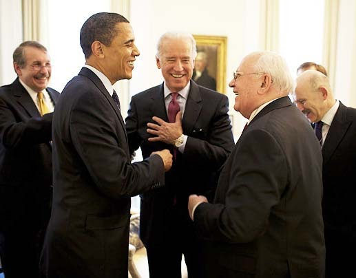Obama and Biden meet Gorbachev.
