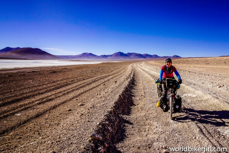 Photo of me cycling the Kibo Bicycle in Bolivia