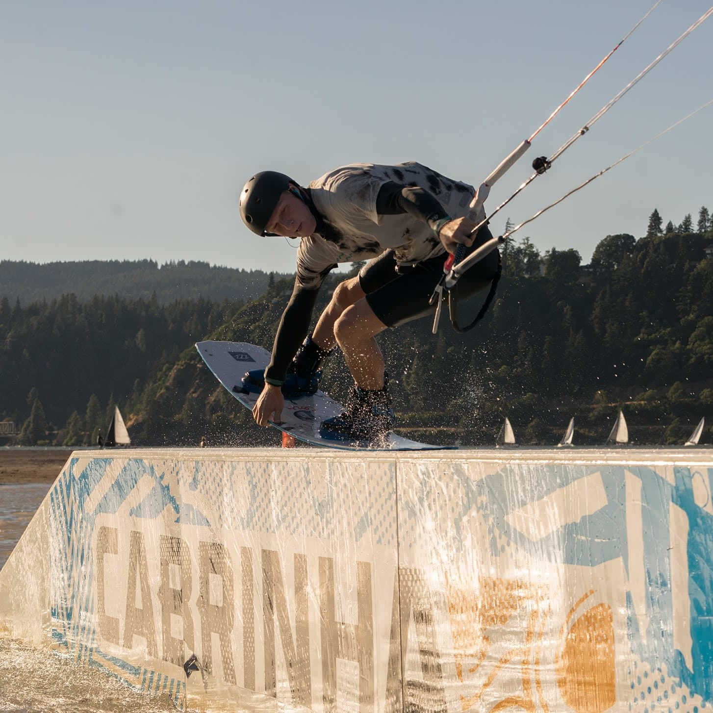 Kiteboarder grinding at the Hood River Junior Jam