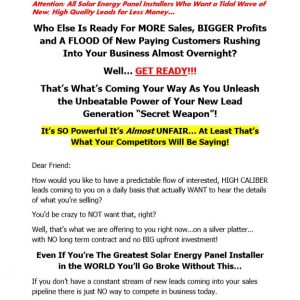 Solar Energy Lead Generation Sales Letter 1