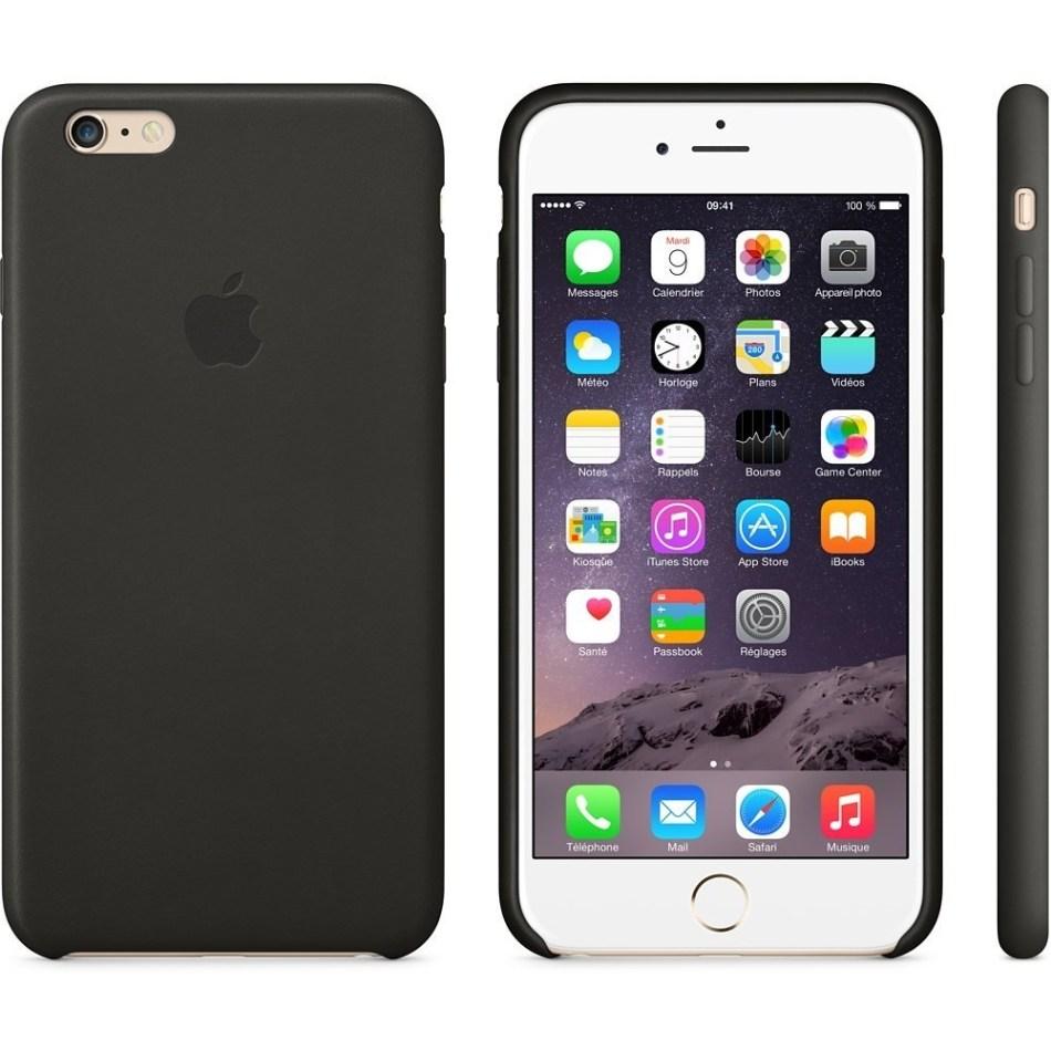 Capac protectie spate Apple Leather Case Premium Black pentru iPhone 6 Plus 6s Plus, MGQX2ZM A