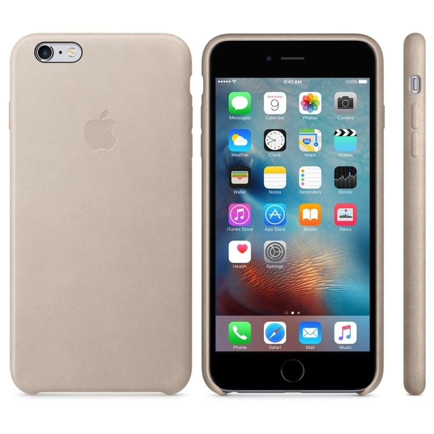 Capac protectie spate Apple Leather Case Premium Rose Gray pentru iPhone 6s Plus, MKXE2ZM A