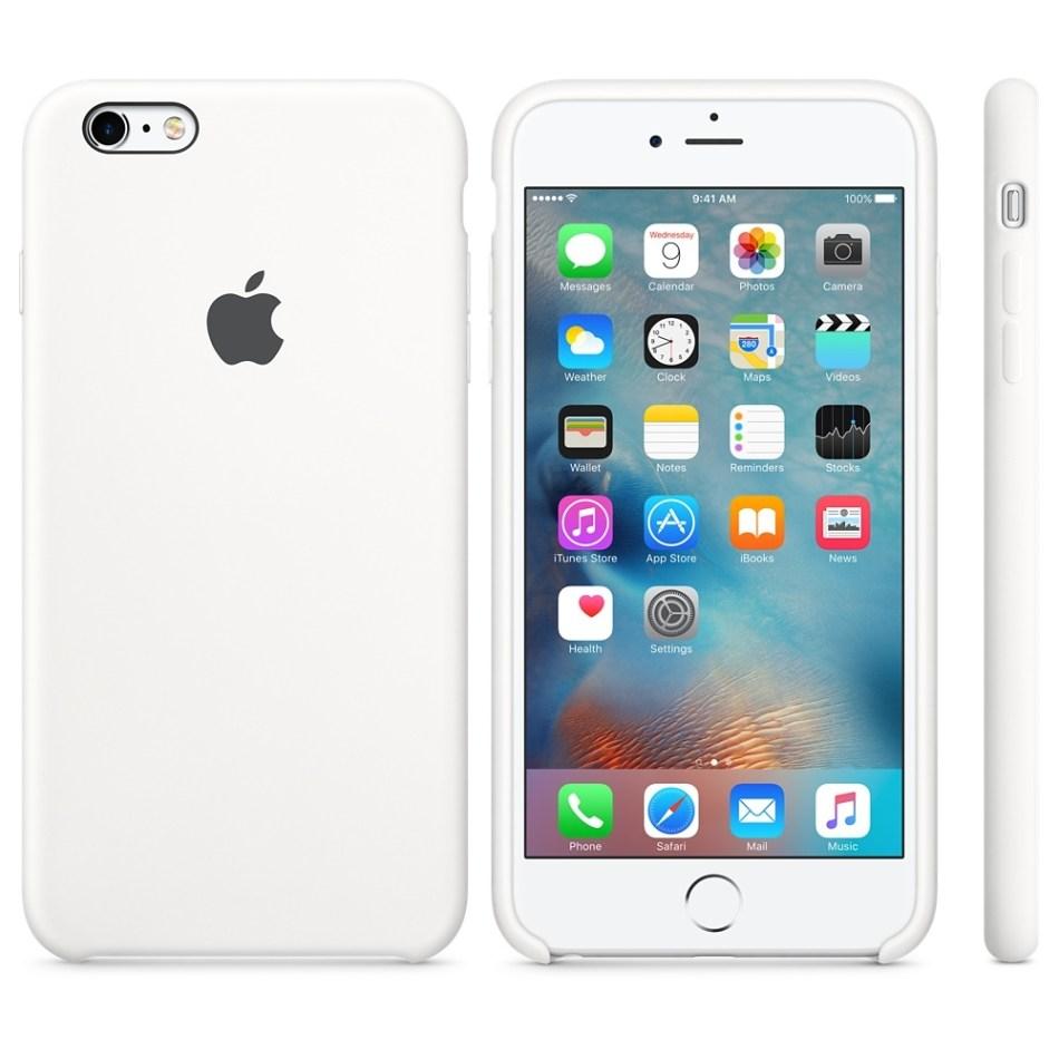 Capac protectie spate Apple Silicone Case White pentru iPhone 6s Plus, MKXK2ZM A 1