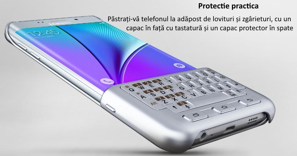 Husa protectie spate cu tastatura QWERTY pentru Samsung Galaxy S6 Edge+ (G928), EJ-CG928MSEGDE Silver c