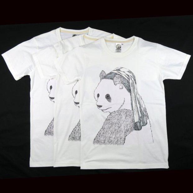 「真珠の耳飾りのパンダ」Tシャツ S,M,L