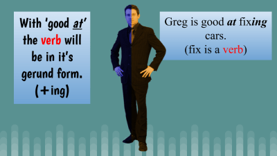 With 'good at' the verb will be in it's gerund form. (+ing)
