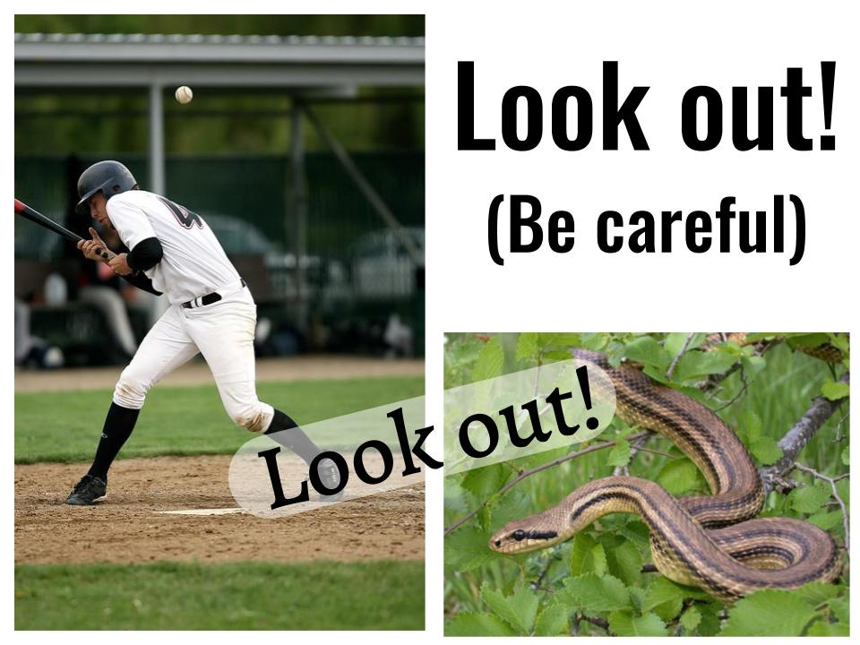 The phrasal verb - Look out