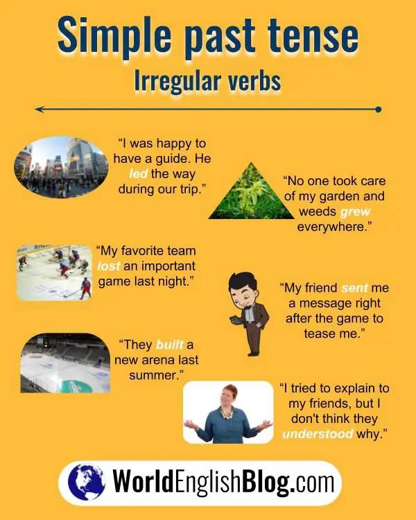 10 English irregular verb examples
