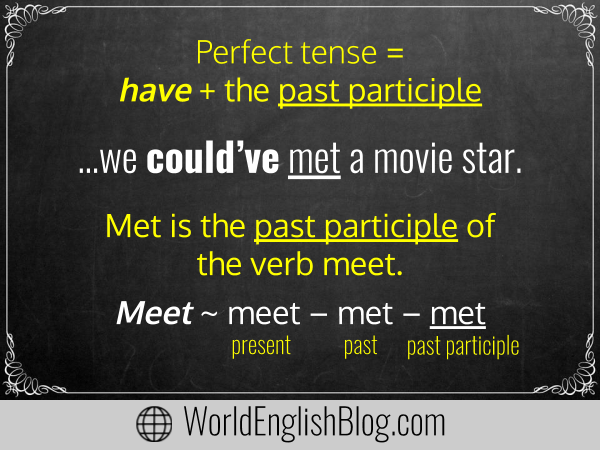 Perfect tense = have + the past participle