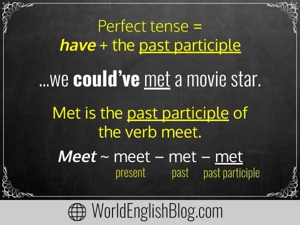 Perfect tense = have + the past participle